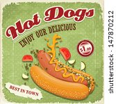 vintage hotdog poster design | Shutterstock .eps vector #147870212