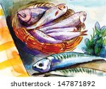 Still Life. Fishes. An Hand...