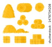 Cartoon Color Bale of Hay Icon Set Include of Straw, Haystack and Hayloft. Vector illustration of Icons