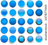 set of blank blue round buttons ... | Shutterstock .eps vector #147877445