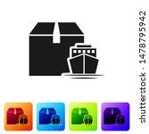 black cargo ship with boxes...   Shutterstock .eps vector #1478795942
