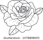rose old school tattoo  art  | Shutterstock .eps vector #1478808692