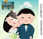 wedding couple. vector... | Shutterstock .eps vector #147887372