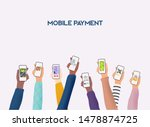 hands holding phones with... | Shutterstock .eps vector #1478874725