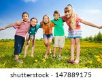 five happy kids hugging... | Shutterstock . vector #147889175