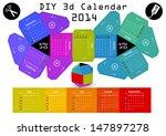 3d diy calendar 2014   3 1    2 ... | Shutterstock .eps vector #147897278