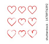 simple read heart shape set | Shutterstock .eps vector #1478976392