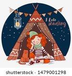cute  funny girl sitting inside ...   Shutterstock .eps vector #1479001298