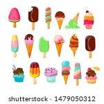 ice cream set. cone  popsicle ... | Shutterstock .eps vector #1479050312