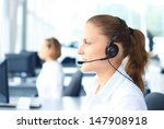 beautiful young female call... | Shutterstock . vector #147908918
