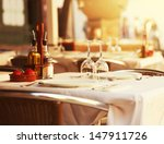 Empty Outdoor Restaurant Table Sunset - Fine Art prints