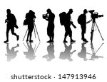 cameramen and camcorder video... | Shutterstock .eps vector #147913946