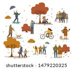 people in warm clothes having... | Shutterstock .eps vector #1479220325