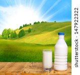 bottle of fresh milk and glass... | Shutterstock . vector #147922322