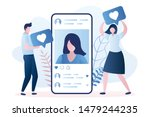 big smartphone with a woman... | Shutterstock .eps vector #1479244235