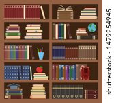 books in bookcase seamless... | Shutterstock .eps vector #1479254945