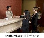 a hotel employee cheerfully... | Shutterstock . vector #14793010