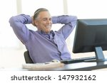 relaxed mature businessman with ... | Shutterstock . vector #147932162