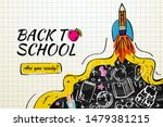 back to school with rocket and... | Shutterstock .eps vector #1479381215