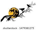 black raven birds sitting on...   Shutterstock .eps vector #1479381275