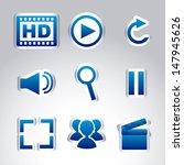 multimedia icons over gray... | Shutterstock .eps vector #147945626