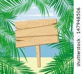 palm leaves framing a blank... | Shutterstock .eps vector #147948506