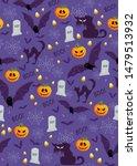 halloween pumpkin seamless... | Shutterstock .eps vector #1479513932
