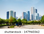 downtown chicago cityscape... | Shutterstock . vector #147960362