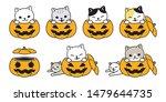 cat vector pumpkin halloween... | Shutterstock .eps vector #1479644735