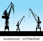three silhouettes of port cranes   Shutterstock .eps vector #1479663968