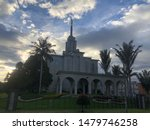 Mormon temple in Bogota, beautiful architecture and sunset