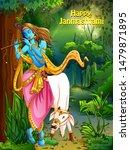 vector design of lord krishna... | Shutterstock .eps vector #1479871895