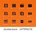 video icons on orange...