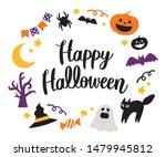happy halloween lettering and... | Shutterstock .eps vector #1479945812