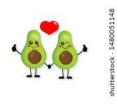 cute cartoon avocado couple in...   Shutterstock .eps vector #1480051148