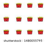 french fries  emoticon or smile ... | Shutterstock .eps vector #1480055795
