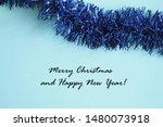 christmas card  blue background ... | Shutterstock . vector #1480073918
