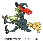 the witch flying on a broom on... | Shutterstock .eps vector #148013282