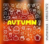 autumn lineart icons doodles... | Shutterstock .eps vector #1480137872