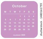october 2020 planning calendar .... | Shutterstock .eps vector #1480161755