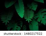 paper art of tropical leaf on...   Shutterstock .eps vector #1480217522