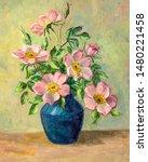 Vintage Oil Painting Of Flower...