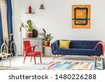 red chair and royal blue lounge ... | Shutterstock . vector #1480226288
