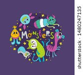cute monsters and stars with... | Shutterstock .eps vector #1480247135