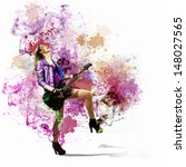 young attractive rock girl... | Shutterstock . vector #148027565