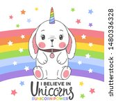 cute unicorn baby rabbit with... | Shutterstock .eps vector #1480336328