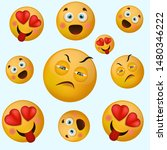 emoji or emoticons pattern on a ...   Shutterstock .eps vector #1480346222