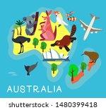 animal cartoon map. australia.... | Shutterstock .eps vector #1480399418