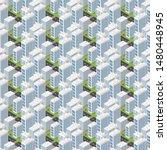 isometric buildings. seamless...   Shutterstock .eps vector #1480448945