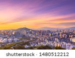 Sunrise of Seoul Downtown cityscape . Aerial view of Nansan Seoul Tower and lotte tower. Viewpoint from Inwangsan mountain best landmark of Seoul , South Korea